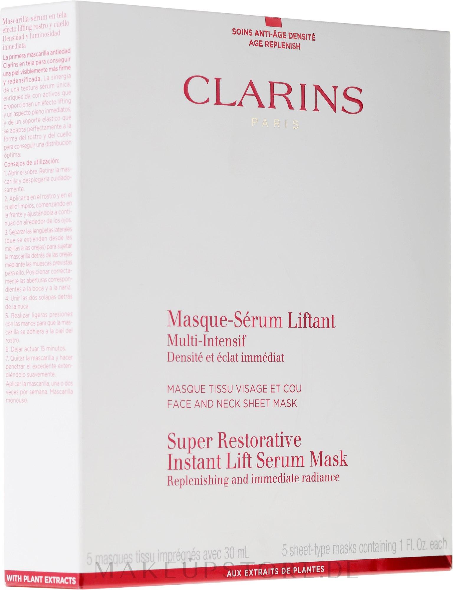 Vliesmaske mit Glättungs- und Auffüllungseffekt für Gesicht und Hals - Clarins Restorative Instant Lift Serum Mask — Bild 5x30 ml