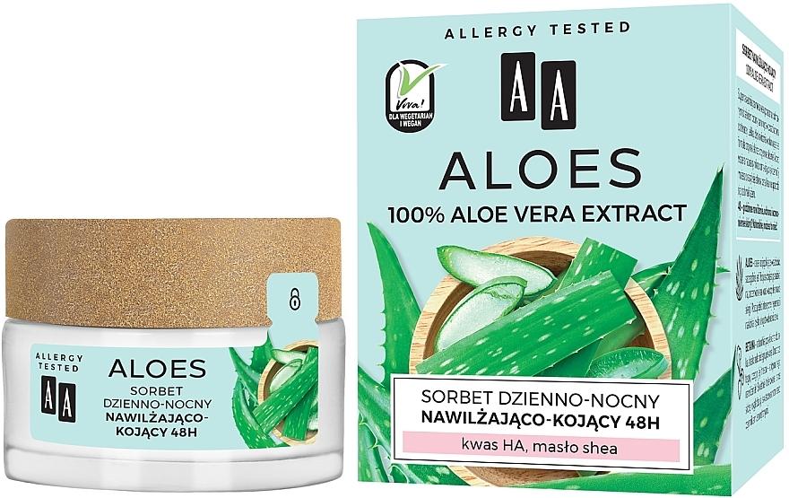Feuchtigkeitsspendendes und beruhigendes Gesicht-Sorbet mit 100% Aloe Vera-Extrakt - AA Aloes Sorbet