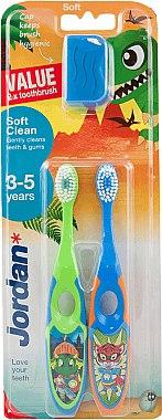 Kinderzahnbürste 3-5 Jahre weich Step By Step grün, blau 2 St. - Jordan Step By Step Soft Clean — Bild N1