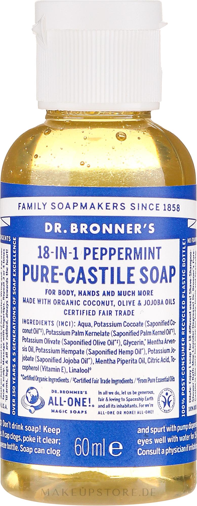 18in1 Flüssigseife mit Pfefferminze für Körper und Hände - Dr. Bronner's 18-in-1 Pure Castile Soap Peppermint — Bild 60 ml