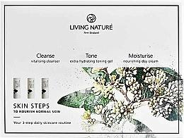 Düfte, Parfümerie und Kosmetik Gesichtspflegeset - Living Nature Skin Steps To Normal Nourish Skin (Gesichtsreinigungsmilch 50ml + Gesichtsgel 50ml + Tagescreme 50ml)