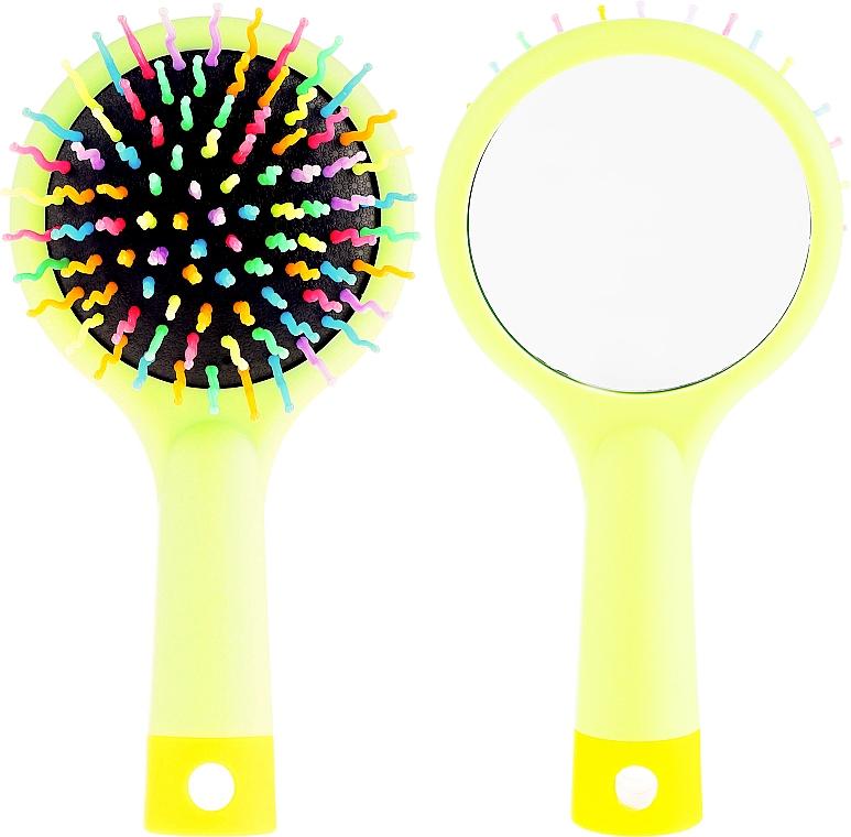 Haarbürste mit Spiegel grün - Twish Handy Hair Brush with Mirror Spring Bud — Bild N1