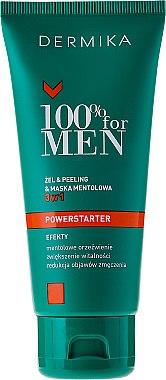 3in1 Gel, Peeling und Gesichtsmaske mit Menthol für Männer - Dermika 100% For Men Powerstarter Gel & Peeling & Menthol Mask 3 in 1 — Bild N2