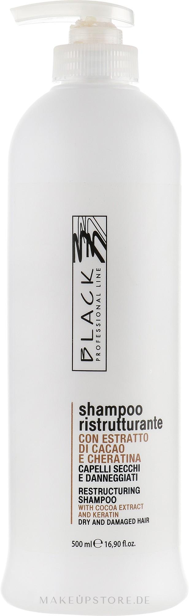 Restrukturierendes Shampoo mit Kakao-Extrakt und Keratin - Black Professional Line Chocolate & Keratin Shampoo — Bild 500 ml