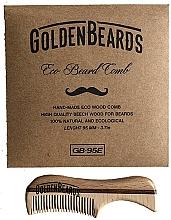 Schnurrbartkamm aus Öko-Holz 9,5 cm - Golden Beards Eco Moustache Comb — Bild N2
