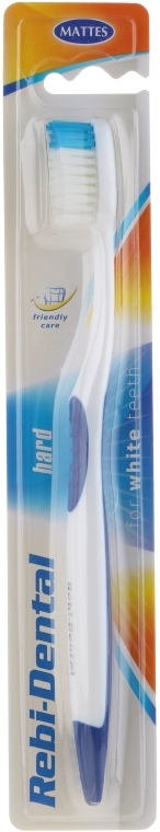 Zahnbürste hart Rebi-Dental M46 weiß-blau - Mattes — Bild N1