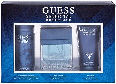 Guess Seductive Homme Blue - Duftset (Eau de Toilette 100ml + Deospray 226ml + Duschgel 200ml) — Bild N1