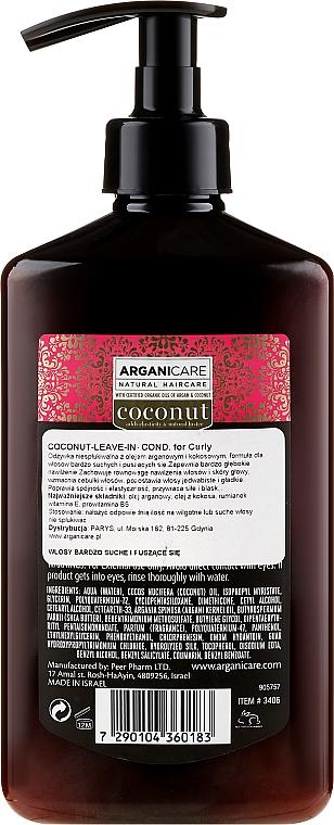 Haarspülung mit Kokosnuss- und Arganöl für lockiges und stumpfes Haar ohne Ausspülen - Arganicare Coconut Leave-In Conditioner For Curly & Dull Hair — Bild N2