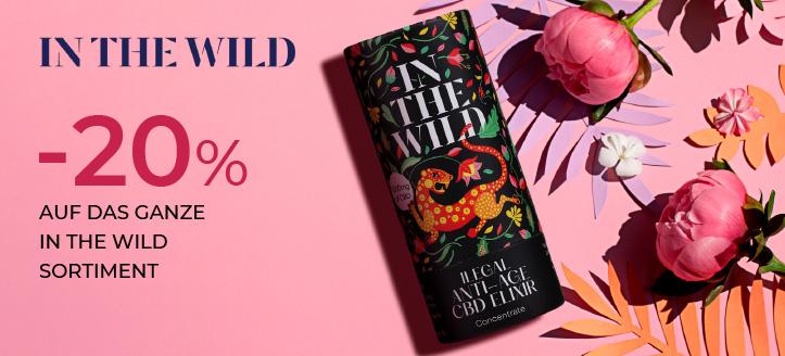 20% Rabatt auf das ganze In The Wild Sortiment. Die Preise auf der Website sind inklusive Rabatt