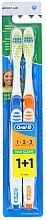 Düfte, Parfümerie und Kosmetik Zahnbürste mittel 1 2 3 Maxi Clean blau, orange 2 St. - Oral-B 1 2 3 Maxi Clean 40 Medium 1+1