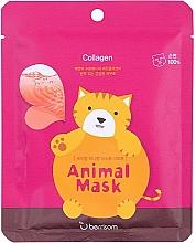 Düfte, Parfümerie und Kosmetik Straffende Tuchmaske mit Meereskollagen - Berrisom Animal Mask Collagen Series Cat