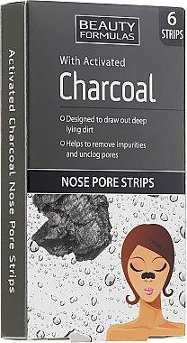 Nasenporenstreifen mit Aktivkohle und Zaubernusswasser - Beauty Formulas With Activated Charcoal Nose Pore Strips — Bild N1