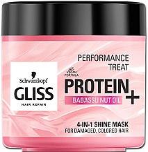 Düfte, Parfümerie und Kosmetik 4in1 Glanz-Maske mit Babassu-Nussöl für coloriertes und geschädigtes Haar - Schwarzkopf Gliss Kur Performance Treat
