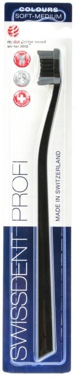 Zahnbürste mittel Profi Colours schwarz - SWISSDENT Profi Colours Soft-Medium Toothbrush Black&Black — Bild N1