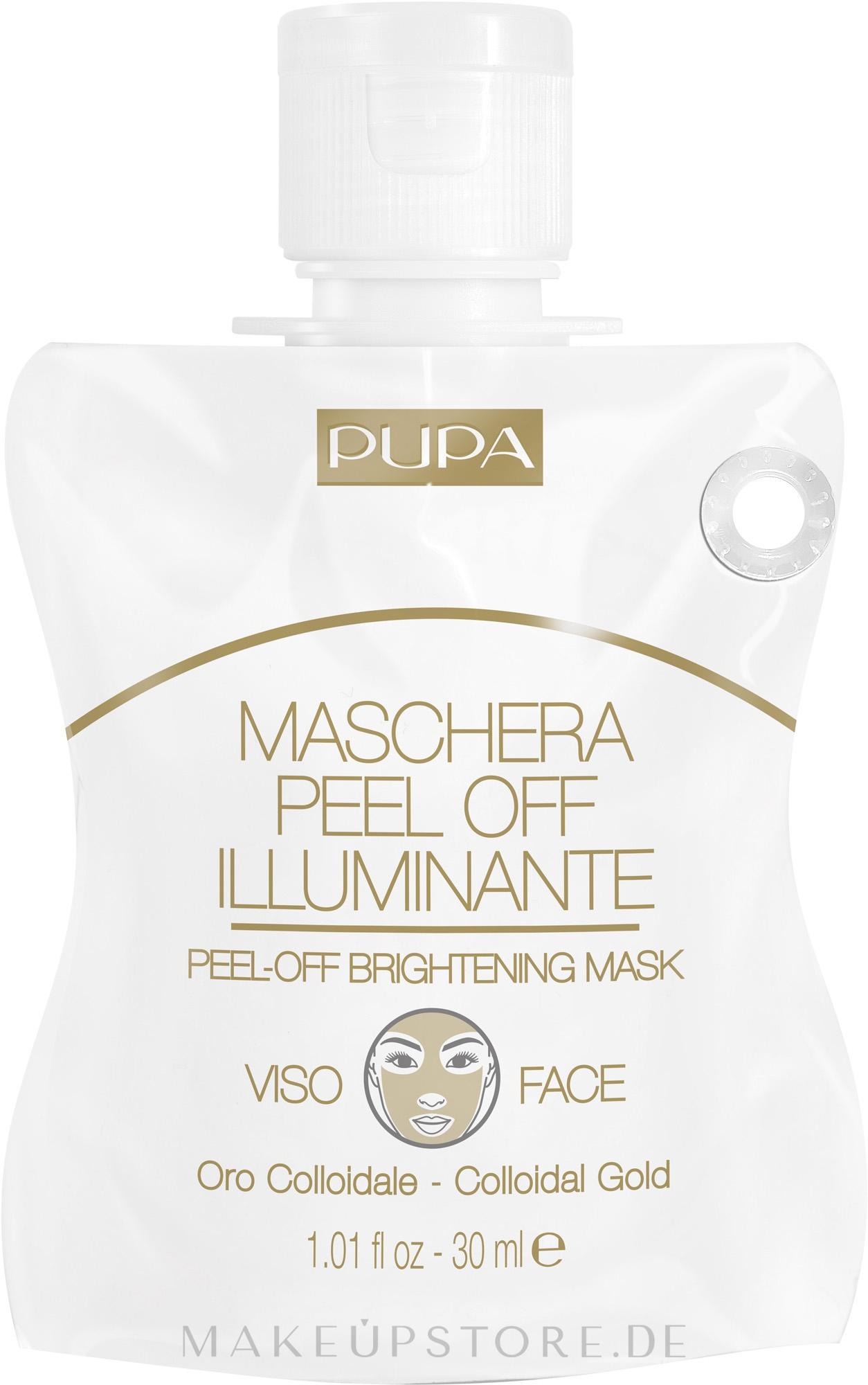 Klärende Peel-Off Gesichtsmaske mit kolloidalem Gold - Pupa Shachet Mask Peel-Off Brightening Mask — Bild 30 ml