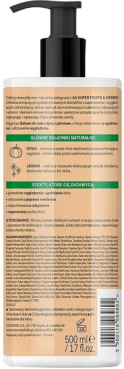 Straffende und glättende Körperlotion mit Kürbis und Jasmin - AA Super Fruits & Herbs — Bild N2