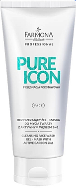 2in1 reinigende Gelmaske für das Gesicht mit Aktivkohle - Farmona Professional Pure Icon Cleansing Face Wash Gel-Mask — Bild N1