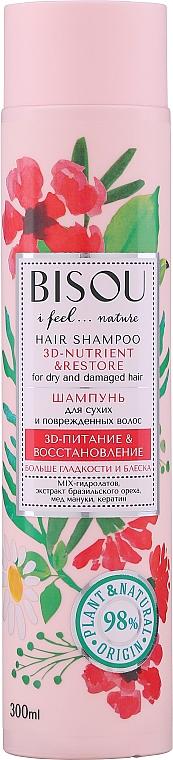 Shampoo mit Paranuss-Extrakt, Manuka-Honig und Keratin für trockenes und strapaziertes Haar - Bisou Hair Shampoo 3D-Nutrien & Restore — Bild N1