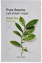 Düfte, Parfümerie und Kosmetik Feuchtigkeitsspendende Gesichtsmaske mit grünem Tee - Missha Pure Source Sheet Mask Green Tea