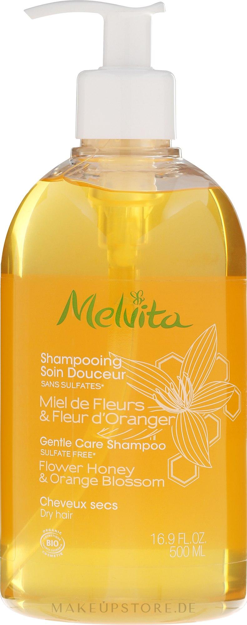 """Pflegeshampoo für trockenes Haar """"Blütenhonig und Orangenblüten"""" - Melvita Gentle Nourishing Shampoo — Bild 500 ml"""