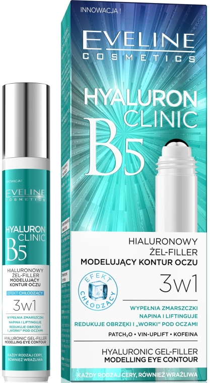 3in1 Augenkonturgel mit Hyaluronsäure - Eveline Cosmetics Hyaluron Clinic Gel Filler Eye Contour Roll-on