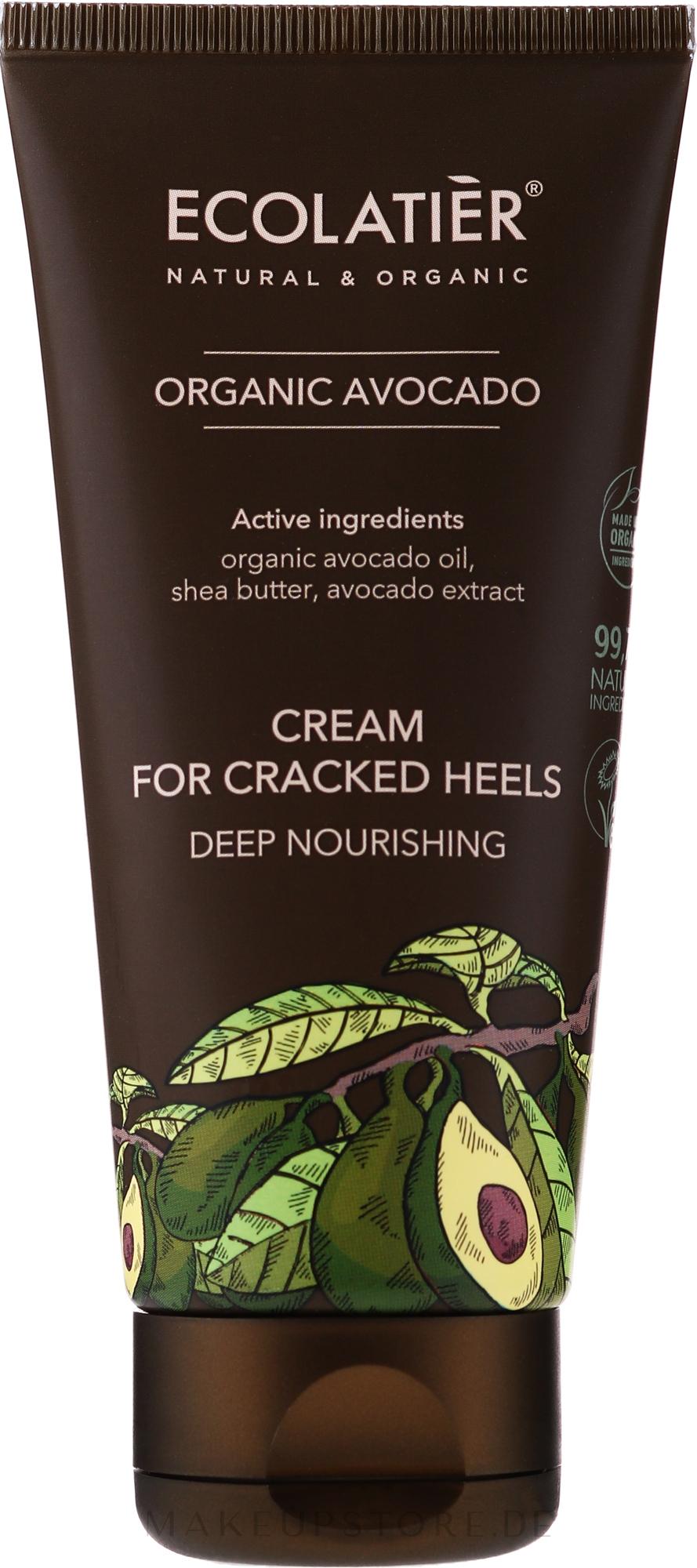 Tief nährende Creme für rissige Fersen mit Bio Avocadoöl, Sheabutter und Avocadoextrakt - Ecolatier Organic Avocado Cream For Cracked Heels — Bild 100 ml
