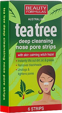 Tiefenreinigende Nasenporenstreifen mit Teebaum - Beauty Formulas Tea Tree Deep Cleansing Nose Pore Strips — Bild N1