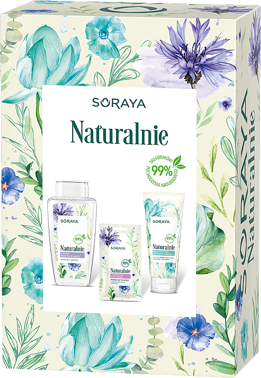 Gesichtspflegeset - Soraya Naturally (Mizellenwasser 400ml + Gesichtsgel 150ml + Gesichtsmaske 17ml) — Bild N1