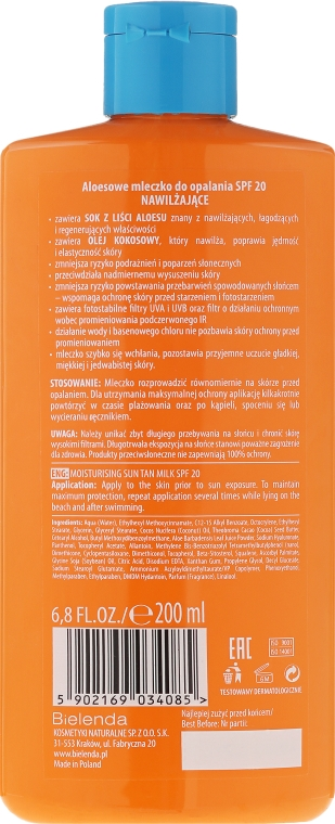Sonnenschutzmilch mit Aloe Vera SPF20 - Bielenda Bikini Tanning Aloe Lotion SPF20 — Bild N2