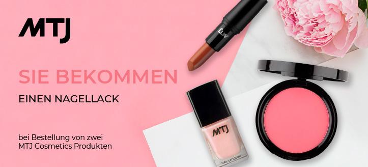 Bei Bestellung von zwei MTJ Cosmetics Produkten bekommen Sie einen Nagellack als Geschenk von uns