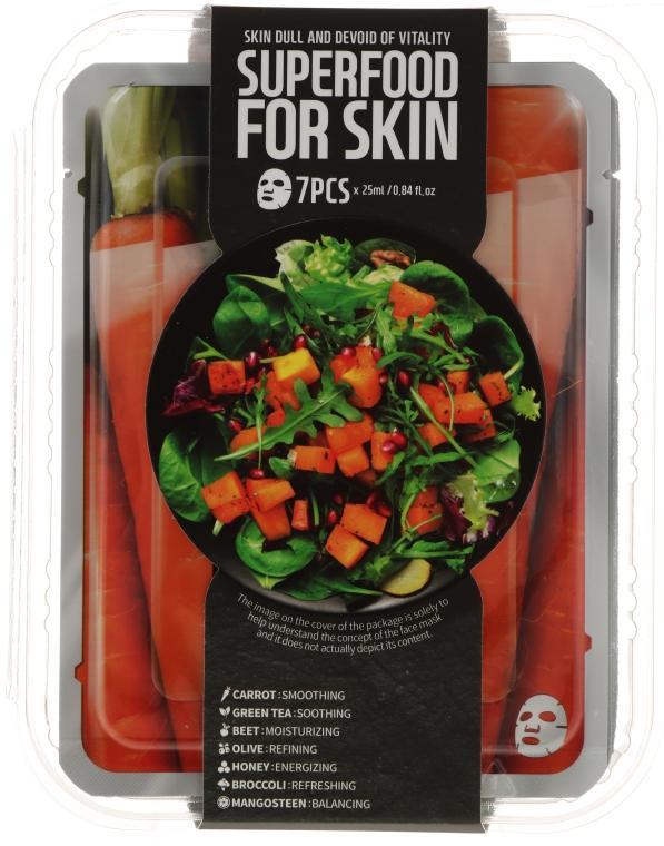 Gesichtspflegeset - Superfood For Skin Dull And Devoid Of Vitality Skin (Tuchmaske 7x25 ml) — Bild N1