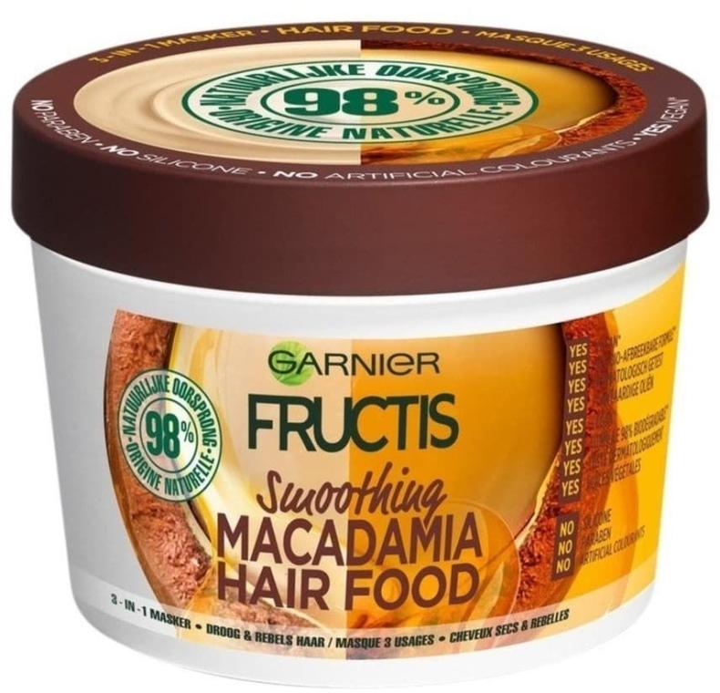 Glättende Haarmaske für widerspenstiges und trockenes Haar - Garnier Fructis Macadamia Hair Food Smoothing Mask