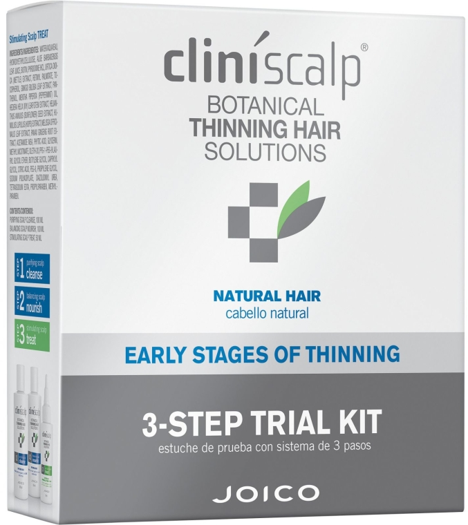 Haarpflegeset - Joico Cliniscalp 3-step Trial Kit For Natural Hair Early Stages (Shampoo 100ml + Conditioner 100ml + Haarbehandlung 50ml) — Bild N1