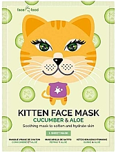 Düfte, Parfümerie und Kosmetik Beruhigende und feuchtigkeitsspendende Tuchmaske mit Aloe- und Gurkenextrakt - 7th Heaven Face Food Kitten Face Mask Cucumber & Aloe