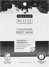 Düfte, Parfümerie und Kosmetik Klärende Tuchmaske für Gesicht mit Aktivkohle und Probiotika - Freeman Beauty Infusion Cleansing Clay Mask Charcoal & Probiotics