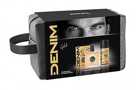 Denim Gold - Duftset (After Shave/100 ml + Deo Spray/150 ml + Kosmetiktasche) — Bild N1