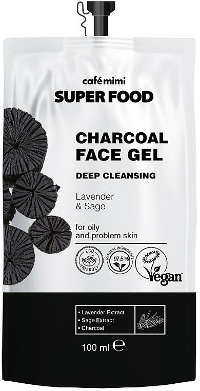 Tiefenreinigendes Gesichtsreinigungsgel mit Holzkohle, Lavendel- und Salbeiextrakt für fettige und Problemhaut - Cafe Mimi Super Food