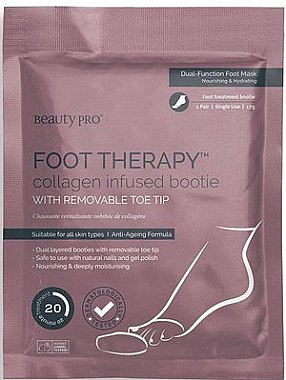 Anti-Aging Fußsocken mit Meereskollagen, Sheabutter und Pfefferminze - BeautyPro Foot Therapy Collagen Infused Bootie — Bild N1