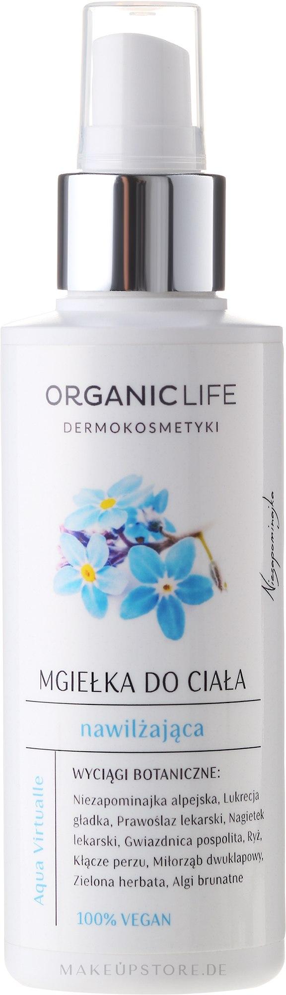 Feuchtigkeitsspendendes Körperspray mit Kräuterextrakten für trockene und empfindliche Haut - Organic Life Dermocosmetics Aqua Virtualle Body Mist — Bild 150 ml