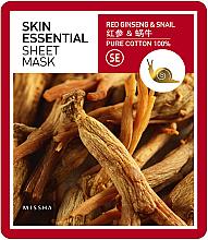 Düfte, Parfümerie und Kosmetik Feuchtigkeitsspendende Gesichtsmaske - Missha Skin Essential Sheet Mask Ginseng & Snail