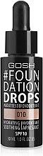 Düfte, Parfümerie und Kosmetik Feuchtigkeitsspendende flüssige Grundierung LSF 10 - Gosh Foundation Drops SPF10
