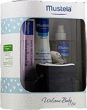 Düfte, Parfümerie und Kosmetik Körperpflegeset - Mustela Welcome Baby Set Blue (Körpergel 200ml + Körpercreme 50ml + Körperöl 100ml + Kosmetiktasche)