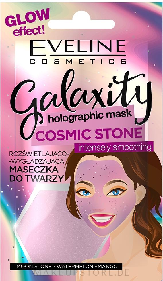 Aufhellende und glättende Gesichtsmaske mit Wassermelone und Mango - Eveline Cosmetics Galaxity Holographic Mask — Bild 10 g