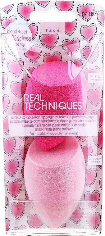 Schminkschwamm pink, hellrosa 2 St. - Real Techniques Miracle Complexion Sponge + Miracle Powder Sponge For Liquid + Powder Makeup 04157 — Bild N1