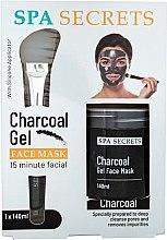 Düfte, Parfümerie und Kosmetik Gesichtspflegeset - Spa Secrets Charcoal Gel Face Mask (Gesichtsmaske 140ml + Pinsel zum Auftragen von Masken 1St.)