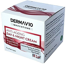 Düfte, Parfümerie und Kosmetik Anti-Aging Gesichtscreme für Tag und Nacht mit Retinol, Mandelöl und Vitamin E 45+ - Derma V10 Innovations Anti Ageing Day & Night Cream 45+