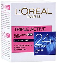 Düfte, Parfümerie und Kosmetik Augencreme mit Vitamin B5 - L'Oreal Paris Tripple Active 24h