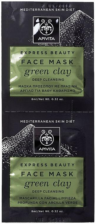 Gesichtsmaske mit grünem Ton für fettige und zu Akne neigende Haut - Apivita Express Beauty Face Mask Green Clay — Bild N1