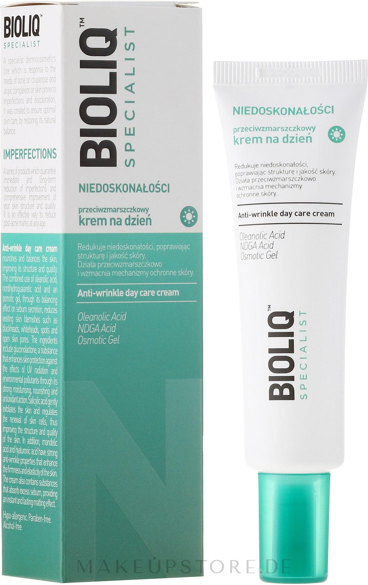 Tagescreme gegen Falten - Bioliq Specialist Niedoskonałośc Anti-Wrinkle Day Care Cream — Bild 30 ml