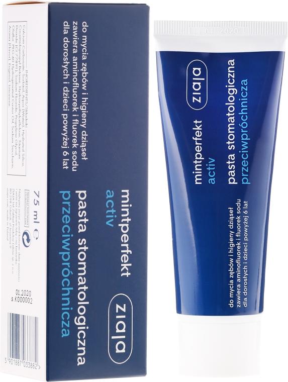 Anti-Karies Zahnpasta für Kinder und Erwachsene - Ziaja Mintperfect Activ — Bild N1